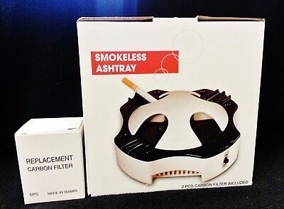 New Worlds Best SMOKELESS ASHTRAY With 8 Carbon Filters & Free