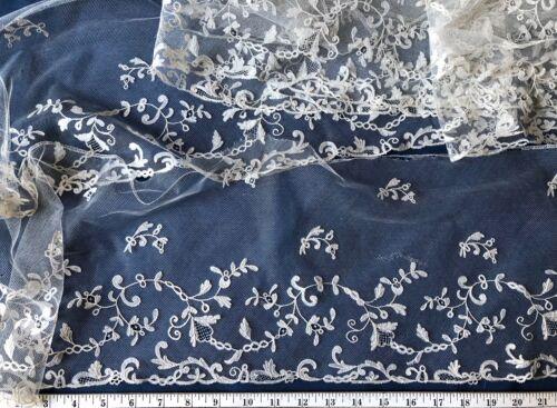 Victorian Brussels bobbin lace appliqué deep flounce BRIDE COSTUME