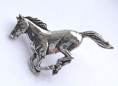 RUNNING HORSE Hand Made in UK Pewter Lapel Pin Badge