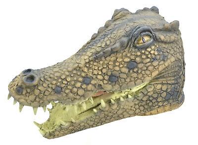 Erwachsene Krokodil Kopf Maske Kostüm Tier Herren Damen Kostüm Zubehör Neu