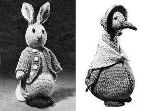 KNITTING PATTERN No 5065 Instructions to Make Peter Rabbit and Jemima