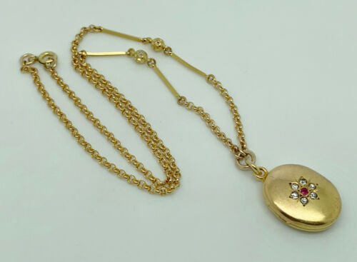 """Antique Victorian T+H Rolled Gold Paste Locket Pendant Collar Necklace 16.5"""""""