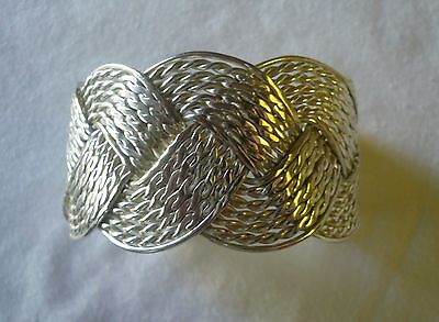 925 Sterling Silver Artisan Crafted Braided Cuff Bracelet - Over 58.5 grams
