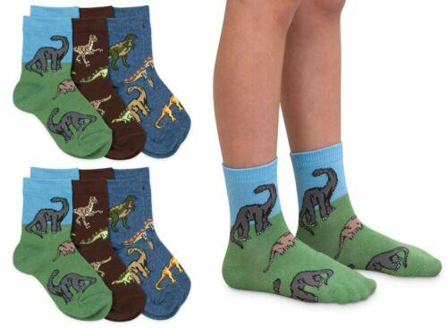 Jefferies Socks Boys Dinosaur Pattern Cotton Crew Ankle Toddler Socks 6 Pack