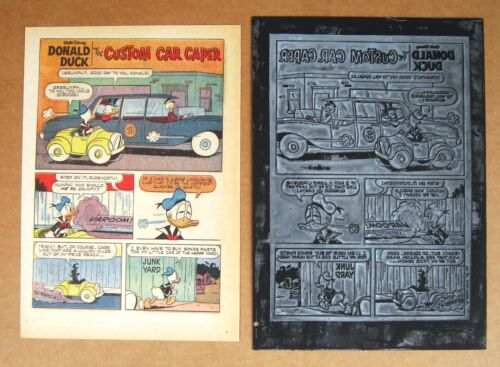 Donald Duck  with Uncle Scrooge Vintage 1967 Printing Plate & Page !