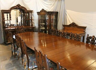 Antique Victorian 16 Pc Matching Oak Dining Room Set   Buffet Table Chairs  China