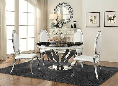 Modern Dining Room Furniture 5 piece Round Mirror Table & White Chairs Set IC73