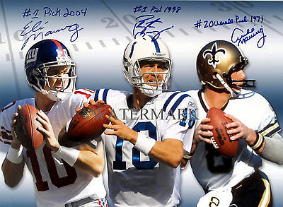 PEYTON MANNING ELI MANNING ARCHIE MANNING SIGNED 8x10 REPRINT PHOTO RP