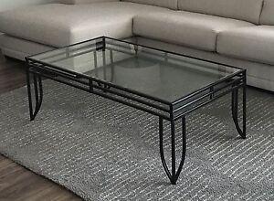 Table fer forgé et verre