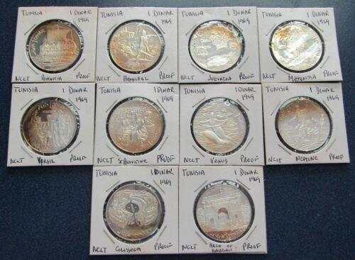 1969 Tunisia 10 Coin Silver Proof Set 1 Dinar - Item# 2315
