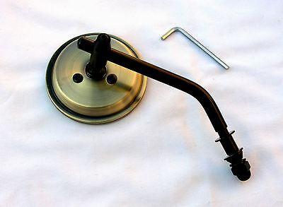 Antique Brass 3 Inch Mini Mirror wih Black Stem & Hardware HD, Bobber, Chopper,