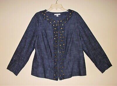 JM Collection Women's Size 16W Blue Metal Beaded Jean Zip Jacket Denim Cotton