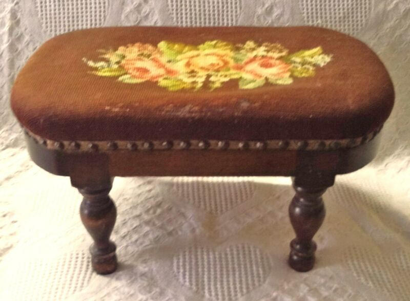 Vintage Needlepoint Footstool