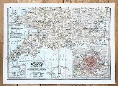 Harmsworth Atlas England and Scotland Railway Map Antique Map 1906