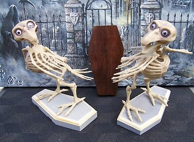 SKELETON BIRDS (2) NEW DEAD CROW GRAY HALLOWEEN PROP SPOOKY POSABLE  FAST