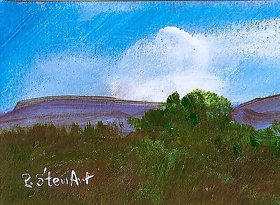 ACEO Blue Skies Clouds Trees Mountain Painting Landscape Art Penny Lee StewArt