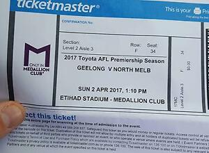 2 Medallion club tickets geelong v north melbourne Narre Warren Casey Area Preview