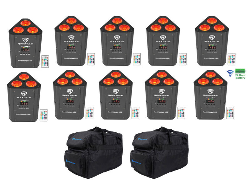 10 Rockville RockWedge LED RGBWA+UV Rechargeable Battery Wireless DMX Lights+Bag