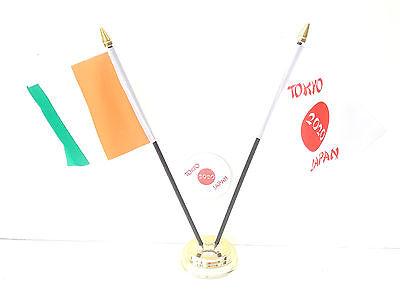 Ivory Coast & Tokyo Japan Olympics 2020 Desk Flags & 59mm BadgeSet