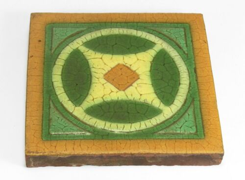 """Grueby Pottery Faience 8"""" x 8"""" circle design tile Arts & Crafts matte green"""