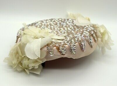 1950s Hats: Pillbox, Fascinator, Wedding, Sun Hats Baby pink Irridescent opal Sequin Hat Harbig Paris 50s Pink Satin Wedding Chic $51.72 AT vintagedancer.com