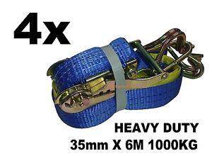 4x 35mm x 6M 1000KG TIE DOWN RATCHET STRAP HEAVY DUTY, QUALITY STRAPS