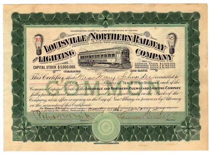 Louisville and Northern Railway and Lighting Co. Stock -  SAMUEL INSULL SR