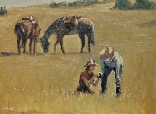 Sean Wu original oil painting 12x16 on canvas board, cowboy & girl