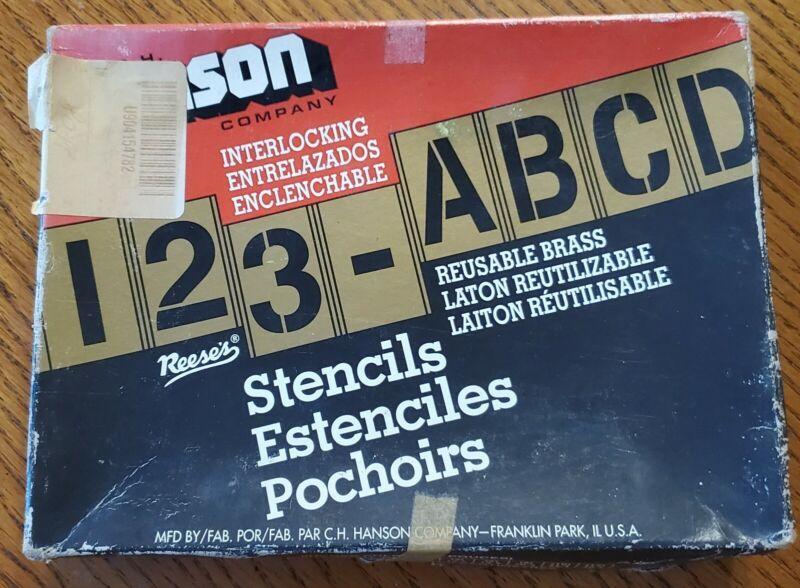 Unused 92 Piece BRASS 4 Inch Stencil Letter & Number Set: C.H. Hanson