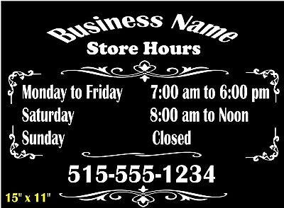 Custom Business Store Hours Sign Arch 1 Vinyl Sticker 18x15 Window Door Glass
