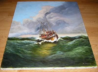 NAUTICAL MARITIME MAST GALLEY SHIP FISHERMAN GREEN OCEAN SEA DISTRESSED PAINTING