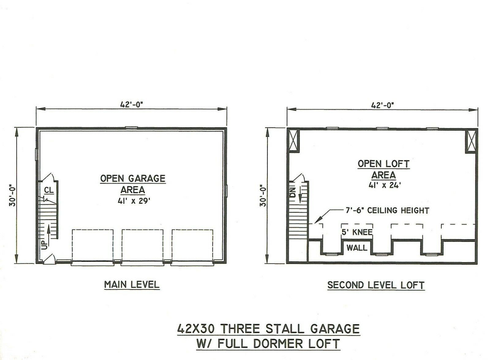 42x30 3 car garage drmd loft building blueprint plans Triple car garage house plans