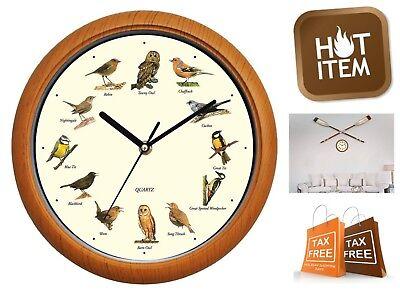 "12"" Singing Bird Wall Clock Battery Operated Hourly Alarm Melody Birds Singing"