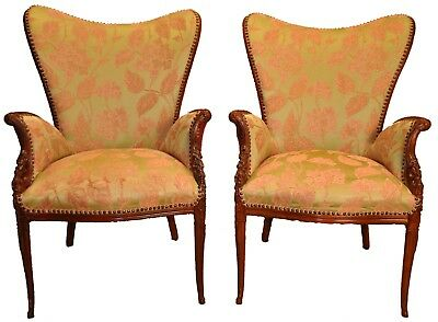 Pair of  Carved Sweetheart Fireside Chairs - Sweetheart Chair