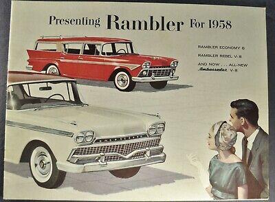 1958 Rambler Brochure Ambassador Rebel Hardtop Wagon AMC Nash Excellent Original