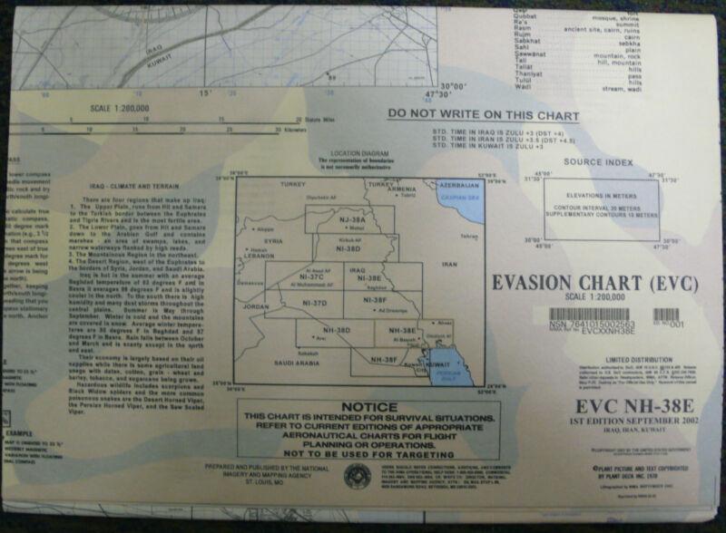 LARGE US MILITARY ESCAPE EVASION CHART MAP EVC NH-38E IRAQ IRAN KUWAIT 2002 OIF