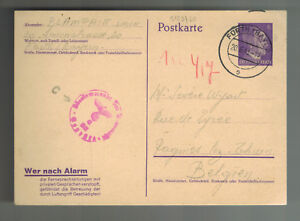 1943 Furth Germany Postcard Cover to Belgium Scarce cancel