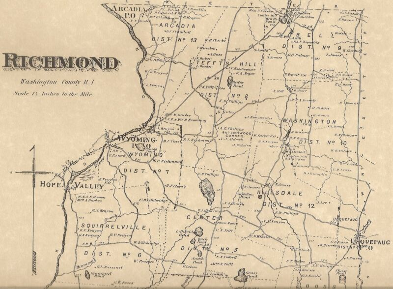 Richmond Carolina Shannock Usquepaug  RI 1870 Maps with Homeowners Names Shown