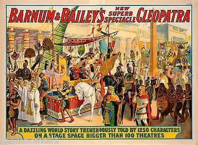1912 Barnum & Bailey Cleopatra Vintage Circus Advertisement Art Poster Print