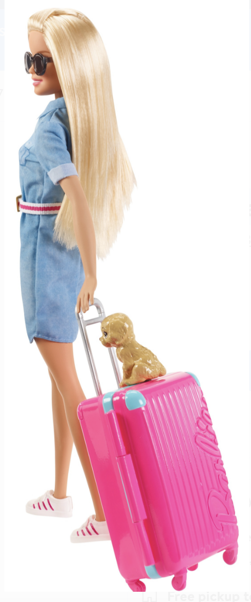 🌟Barbie Doll🌟and Travel Set with Puppy🌟Luggage & 10+ Accessories(🇺🇸) 4