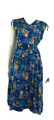 80s Dresses   Casual to Party Dresses Vintage 1980's Osti Blue Floral Tie Shoulder Dress $25.68 AT vintagedancer.com