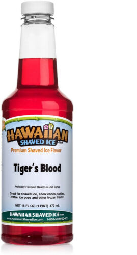 Hawaiian Shaved Ice Tigers Blood Snow Cone Syrup, 1 Pint