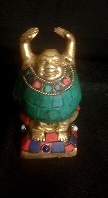 Happy Laughing Buddha Statue Buddhist Shakyamuni Amulet Brass Sculpture Figure - Laughing Buddha Sculptures