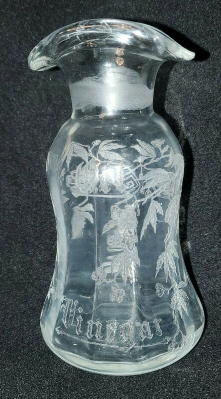 Antique  Etched Glass Cruet Oil & Vinegar, Fill Lines *NO TOP