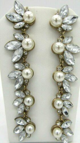"""Beautiful Bling Rhinestones Faux Pearls Long Dangle Earrings 3.5"""" Long"""