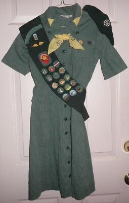 1950s JUNIOR INTERMEDIATE GIRL SCOUT UNIFORM Dress Hat Sash Halloween Costume T8 - Girl Scout Uniform Costume