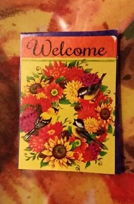 """Welcome"" Chickadee & Goldfinch Autumn Wreath, Sunflowers, Mums, HOUSE flag"
