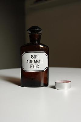 Apothekerflasche, Form selten, SIR. AURANTII EX rund mit 4 Kanten,alt,emailliert