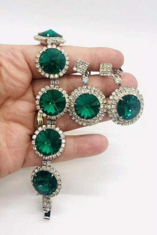 Emerald Green Rivoli Rhinestone Bracelet & Dangle Earrings Demi Vintage Jewelry