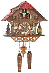 Quartz Cuckoo Clock Black Forest House with Moving Beer Drinker and Mill Wheel